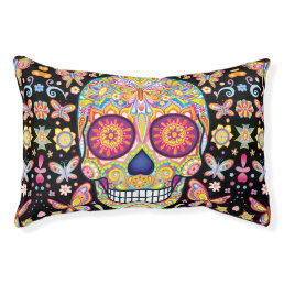 Sugar Skulls Dog Bed - Day of the Dead Skull