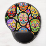 """Sugar Skulls Gel Mousepad - Colorful Groovy Art<br><div class=""""desc"""">This Sugar Skulls Gel Mousepad features an array of colorful psychedelic calavera sugar skulls celebrating Mexico&#39;s Day of the Dead,  or Dia de los Muertos. The funky design for this Sugar Skull Gel Mousepad features the original artwork of Thaneeya McArdle.</div>"""
