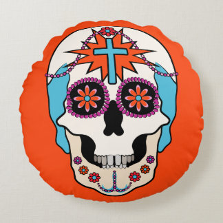 Sugar Skulls Graphic Round Pillow