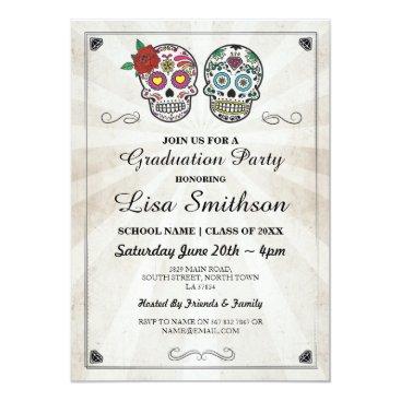 Halloween Themed Sugar Skulls Halloween Graduation Party Invite