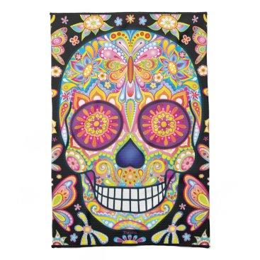 thaneeyamcardle Sugar Skulls Kitchen Towel - Day of the Dead Art