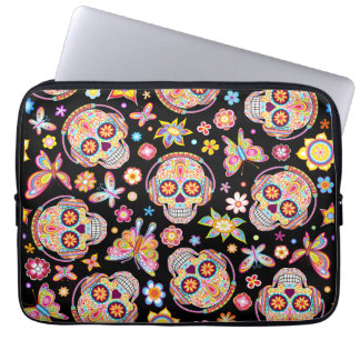 Sugar Skulls Laptop Sleeve - Skull with Headphones
