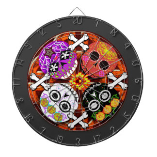 sugar skulls n' bones dartboard with darts