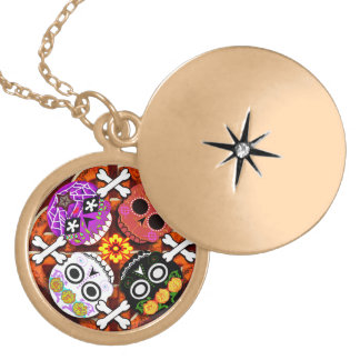 sugar skulls n' bones locket necklace