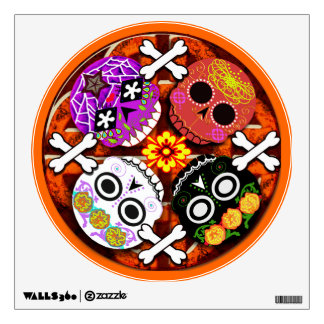 sugar skulls n' bones quad wall sticker