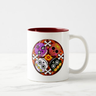 sugar skulls n' bones Two-Tone coffee mug