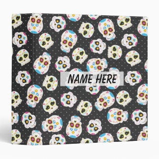 Sugar Skulls on Black with Polka Dots Personalized Binder