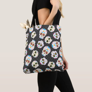 Sugar Skulls on Black with Polka Dots Tote Bag