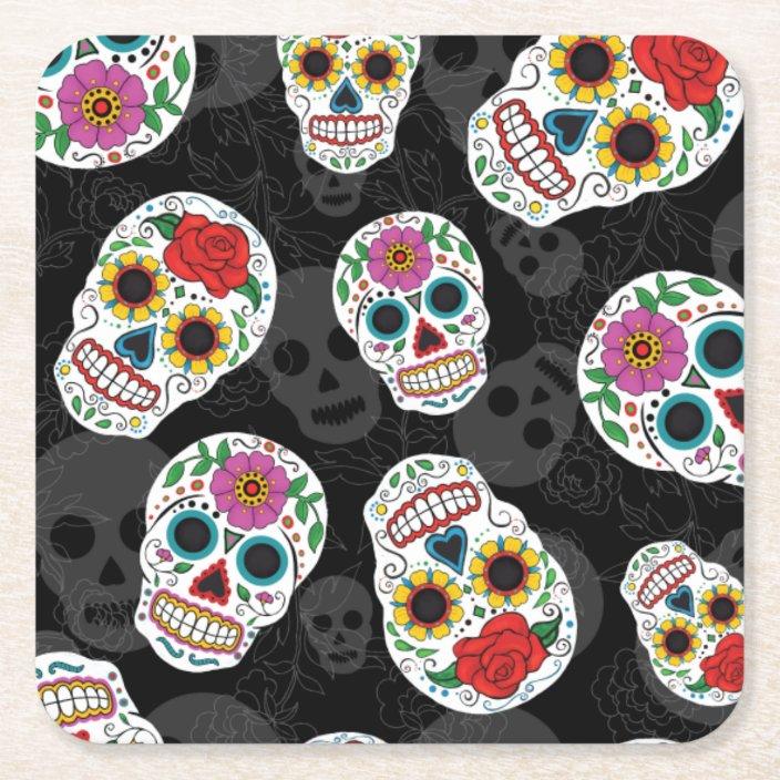 Sugar Skulls Print Coaster Zazzle.com