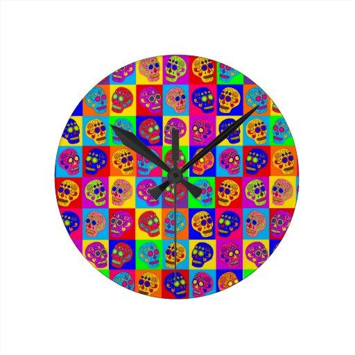 Sugar Skulls Round Clock