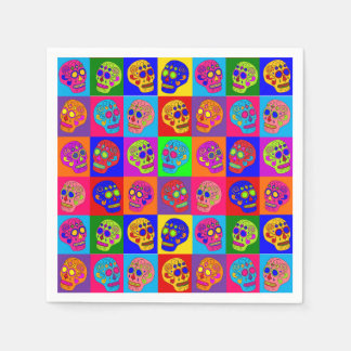 Sugar Skulls Squares Disposable Napkins