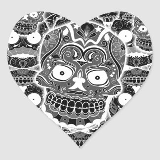 Sugar Skulls Heart Sticker