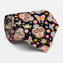 Sugar Skulls Tie - Sugar Skull Wearing Headphones