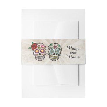 Halloween Themed Sugar Skulls Wedding Print Belly Vintage Chalk Invitation Belly Band