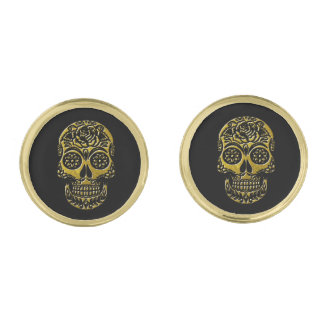 Sugar Skulls Your Background Color Gold Cufflinks