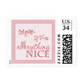 Sugar & Spice Baby Girl Pink Postage