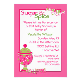 Sugar & Spice Baby Shower Candy Buffet Invitation
