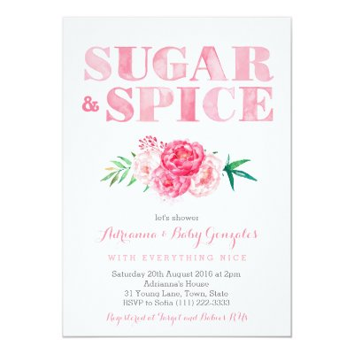 sugar and spice baby girl baby shower invitation | zazzle, Baby shower invitations