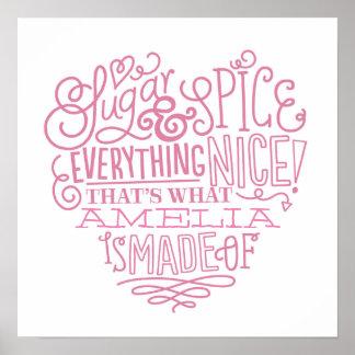 Sugar & Spice Child's Name Art Poster