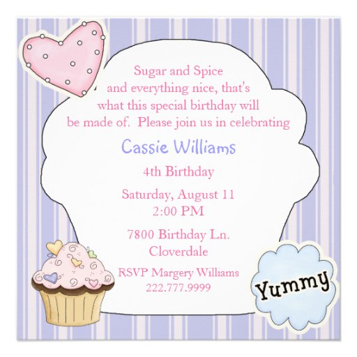 Sugar & Spice Cupcake Birthday Party Invitation