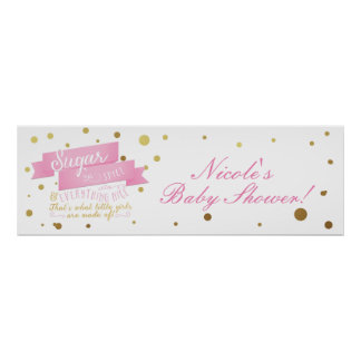 Sugar & Spice & Everything Nice Baby Shower Banner Poster