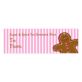 Sugar & Spice Gingerbread Custom Gift Tag Double-Sided Mini Business Cards (Pack Of 20)