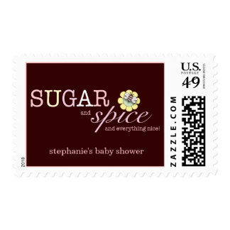 Sugar & Spice It's a Girl Baby Shower Postage