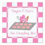 Sugar & Spice Pink Checkers and Cookie Baby Shower Personalized Invitations