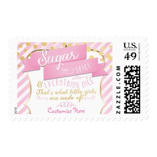 Sugar & Spice Pink & Gold Striped Postage Stamp