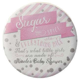 Sugar & Spice Pink & Silver Baby Shower Favor