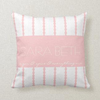 Sugar & Spice &... Pink/White Stripes w Name Throw Pillow