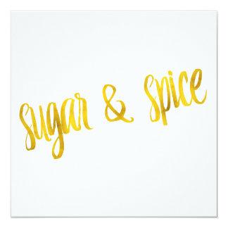 Sugar & Spice Quote Faux Gold Foil Glitter Card