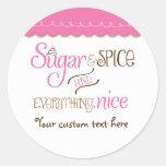 Sugar & Spice Typography Baby Shower Party Sticker