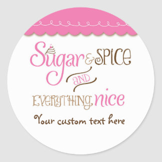 Sugar & Spice Typography Baby Shower Party Sticker
