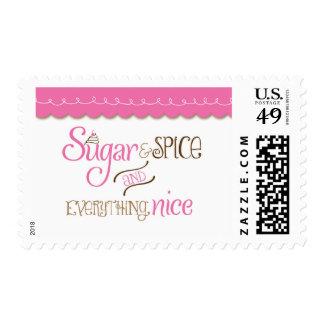 Sugar & Spice Typography Baby Shower Stamp Postage