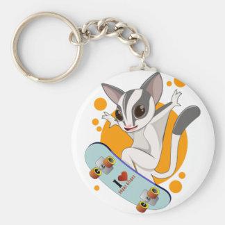 Sugarglider skater basic round button keychain