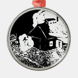 Sugarhouse at Night Metal Ornament