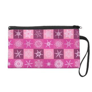 Sugarplum Pink Snowflakes Collection Christmas Wristlet Clutches
