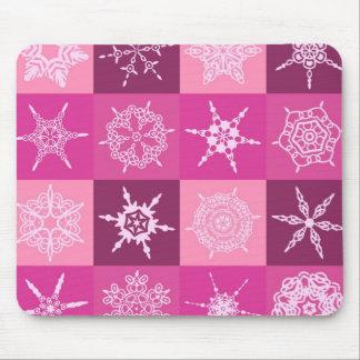 Sugarplum Pink Snowflakes Collection Christmas Mousepad
