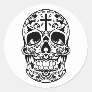 SugarSkull Black-01.png Classic Round Sticker