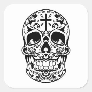 SugarSkull Black-01.png Square Sticker