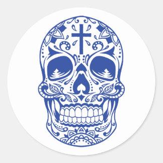 SugarSkull Blue-01.png Classic Round Sticker