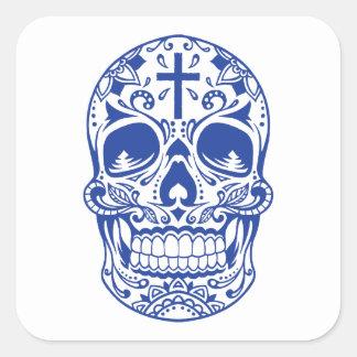 SugarSkull Blue-01.png Square Sticker