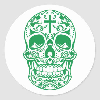 SugarSkull Green-01.png Classic Round Sticker