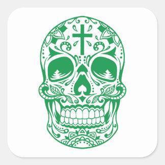 SugarSkull Green-01.png Square Sticker
