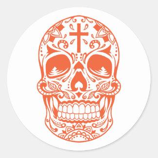 SugarSkull Orange-01.png Classic Round Sticker