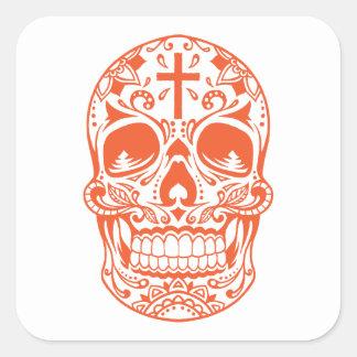 SugarSkull Orange-01.png Square Sticker