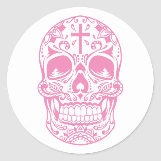 SugarSkull Pink-01.png Classic Round Sticker