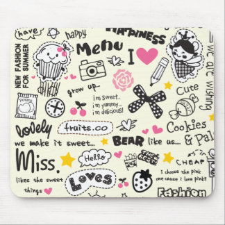 Sugary Sweet Girly Cartoon Sketches. Mouse Pad