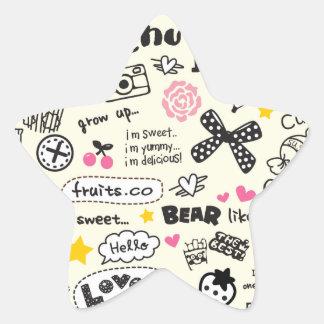 Sugary Sweet Girly Cartoon Sketches. Star Sticker
